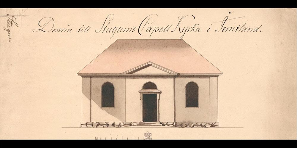 En ritning på kyrkan